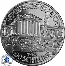 Österreich 100 Schilling Silber 1995 PP Münze Millenium Serie - Erste Republik