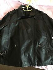 Evans BRAND NEW Ladies Size 24 Faux Leather Jacket Zip on Sleeves And Pockets