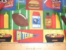 """Fabric-Football """"Game Time""""-Football,Grill,Mustard,Goal Post,Hot Dogs, Beer Cool"""