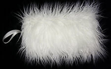 MONGOLIAN IVORY LUXURIOUS FAUX FUR MUFF HAND WARMER NEW