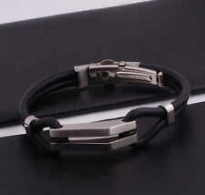 "Unisex Men Stainless Steel Rubber Silicone Bangle Bracelet Black Silve 8"" G5"