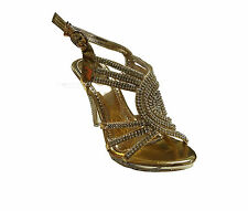 NEW WOMENS LADIE HIGH HEEL SANDAL STRAP BUCKLE DIAMANTE WEDDING PARTY PROM SHOES