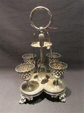 Boiled Egg Vintage Silverplate Set with Spoons, Stand & Egg Cups James Lewis