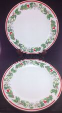 Lynns St Maria Set Of 2 Dinner Plates China Holly Red Berries Gold Rim Christmas