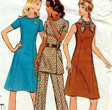 "EASY Vintage 70s PRINCESS SEAM DRESS & PANTS Sewing Pattern Bust 40"" Sz 16 RETRO"