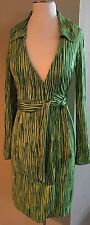 DVF Diane Von Furstenberg Women's Vintage Silk Wrap Dress Light/Dark Green SZ 2
