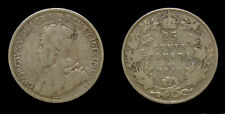 Canada 1915 25 Cent King George V Silver Coin VG-8 Key Date