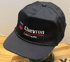 NWOT VINTAGE CHEVRON LUBRICANTS TRUCKERS HAT BLACK SNAPBACK ADJUSTABLE X13