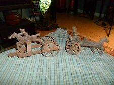 Antique CAST IRON PULL TOY LOT OF 2 Paul Revere & Horse & Buggy RARE !