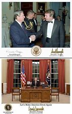 3-Trump Signed 8X10 Pictures Trump Reagan, Trump Force One & Trump Oval Office