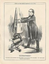 1872 Punch Cartoon Miall Fails to Bring Down the Church - Extinguished!