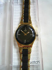 SWATCH YELLOW PEARL BLACK GOLD WATCH YLG124G IRONY BNWT