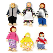 6 Cute Doll Wooden House Family People Set Kid Children Pretend Play Toy Gift