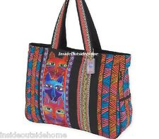 Laurel Burch Stacked Whiskered Cat Oversized Tote Travel Beach Sport Bag New