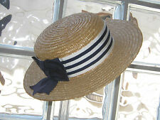 LAURA ASHLEY REGATTA vintage rayures ruban & noeud paille boater hat, taille unique