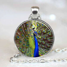 Vintage Peacock Cabochon Tibetan silver Glass Chain Pendant Necklace A38