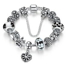 Wostu 925 silver European Charms Bracelet With Murano Beads For Love Mothers day