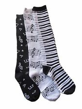 NWT 3 pair Piano Keyboard Music Notes Clefs Knee Socks Black & White Free Ship