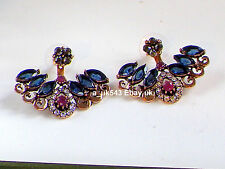 Bollywood Jewellery,Indian ethnic cuff earrings,Polki Sapphire jhumka Bali,studs