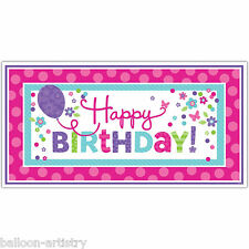 1.65m Joyful Pink & Teal Happy Birthday Party Giant Sign Banner Decoration