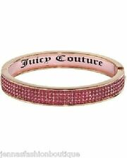 JUICY COUTURE rose gold tone pink crystal inlay bangle bracelet new