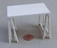 Natural Finish 1:12 Scale Trestle (Paste) Table Dolls House Miniature Furniture