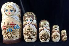 """RUSSIAN NESTING DOLL MATRYOSHKA Style 5PC WOOD BURNED GOLD ACCENT 7"""" Vintage"""
