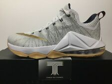"Nike Lebron XII Low ""White/Gold"" 724557 174. U.K. Size 7"