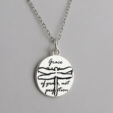 Dragonfly Charm Necklace - 925 Sterling Silver Handmade Inspirational Grace NEW