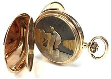 RARE Vintage 14K Gold Erotic Quarter Repeater 4-Color Double Hunter Pocket Watch