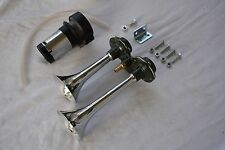 12V Dual Air Horn Kit Train Car Truck Boat RV Street Rat Rod SUPER LOUD Horns