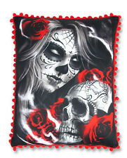 LIQUOR BRAND SUGAR SKULL ROSE TATTOO STUFFED CUSHION PILLOW RED POM POM TRIM
