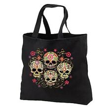 Gothic Sugar Skulls New Cotton Tote Bag, Day of the Dead