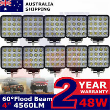 10X 48W Square LED Work Light Flood Lamp Offroad Truck Tractor Boat Bar 12v 80W