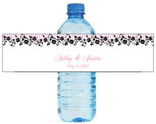 100 Pink Stripes  Roses Wedding Anniversary Engagement Party Water Bottle Labels