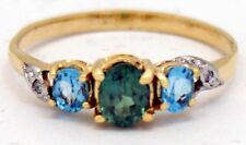 Natural ALEXANDRITE & BLUE TOPAZ Ring 10k *COMES WITH FREE SHIPPING & APPRAISAL