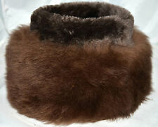 Vintage Fluffy Brown Shearling Sheepskin Fur Hat With Gray Faux Fur Top Size M/L