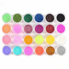 24 COLORS NAIL ART GLITTER METAL DUST ACRYLIC UV NAIL FACE BODY POWDER SET