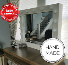 Hollywood Makeup Mirror Vanity White Stage Beauty Handmade Bulbs Lights Glamour