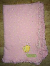 Carters Bee-utiful Baby Blanket Pink Bee Daisies Flowers Ruffled Edge Stains