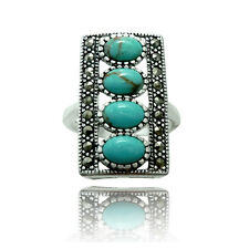 Genuine Natural Turquoise Ring with Marcasite boarder