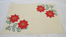 Set of 4 December Home Christmas Placemats Cream / Cut Edges Poinsetia NEW