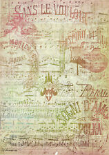 Ricepaper/ Decoupage paper, Scrapbooking Sheets /Craft Paper Vintage Sheet Music