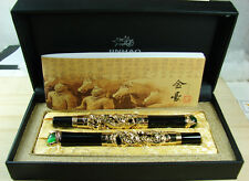 Gold Dragon Playing Pearl Fountain Pen Roller Pen Original Gift Box Set