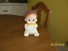 Vtg 1968 Iwai Rubber Squeak Toy Baby Yellow Collar Blue Eyes Brown Hair Japan