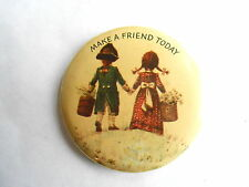 Vintage Colonial Boy & Girl Make a Friend Today Norcross Greeting Card Pinback