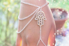 Stylish Artistic Aesthetic Lady Hamsa Fatima Palm Pendant Finger Ring Bracelet