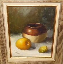 ROBERT WEE FRUITS AND POT OIL ON CANVAS PAINTING MASSACHUSETTS