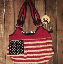 The Sac Hand Crocheted USA American Flag Satchel Shoulder Bag  Multi Color NWT