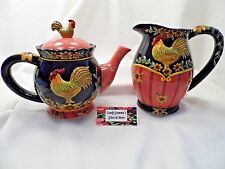 STONEWARE ROOSTER TEAPOT WITH MATCHING WATER / MILK PITCHER